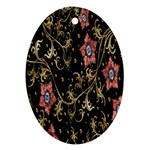 Floral Pattern Background Oval Ornament (Two Sides) Front