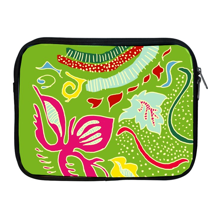 Green Organic Abstract Apple iPad 2/3/4 Zipper Cases