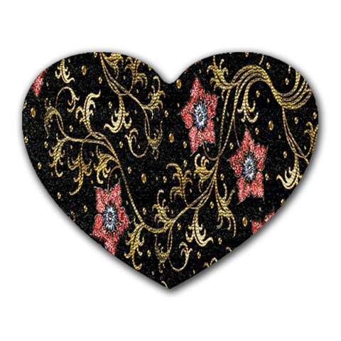 Floral Pattern Background Heart Mousepads
