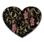 Floral Pattern Background Heart Mousepads Front
