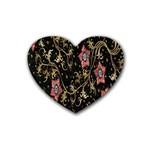 Floral Pattern Background Heart Coaster (4 pack)  Front
