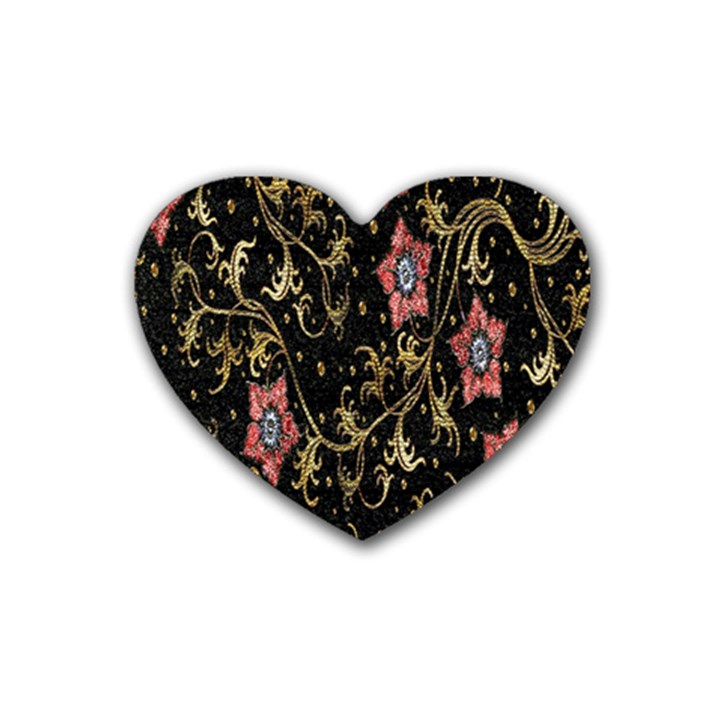 Floral Pattern Background Heart Coaster (4 pack)