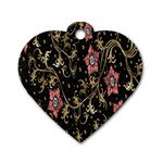 Floral Pattern Background Dog Tag Heart (Two Sides) Back