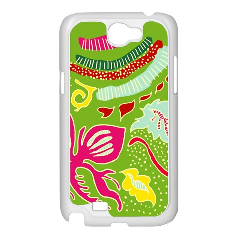 Green Organic Abstract Samsung Galaxy Note 2 Case (White)