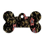 Floral Pattern Background Dog Tag Bone (Two Sides) Back