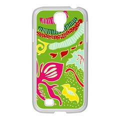 Green Organic Abstract Samsung Galaxy S4 I9500/ I9505 Case (white)