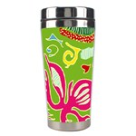 Green Organic Abstract Stainless Steel Travel Tumblers Left