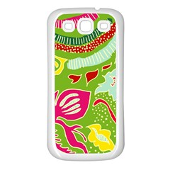 Green Organic Abstract Samsung Galaxy S3 Back Case (white)