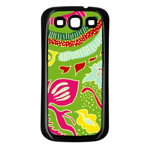 Green Organic Abstract Samsung Galaxy S3 Back Case (Black)