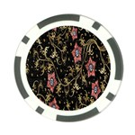 Floral Pattern Background Poker Chip Card Guards Back