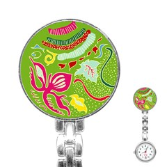 Green Organic Abstract Stainless Steel Nurses Watch