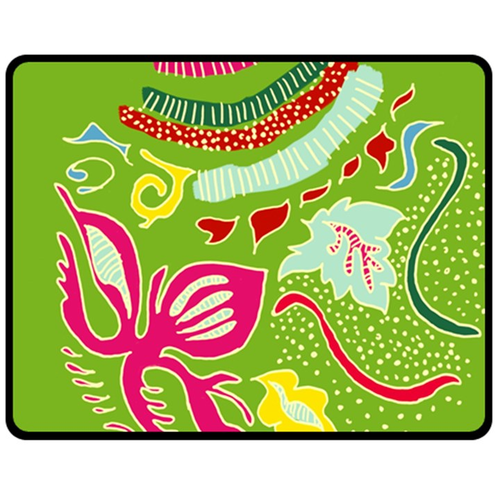 Green Organic Abstract Double Sided Fleece Blanket (Medium)