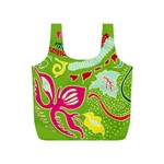 Green Organic Abstract Full Print Recycle Bags (S)  Front