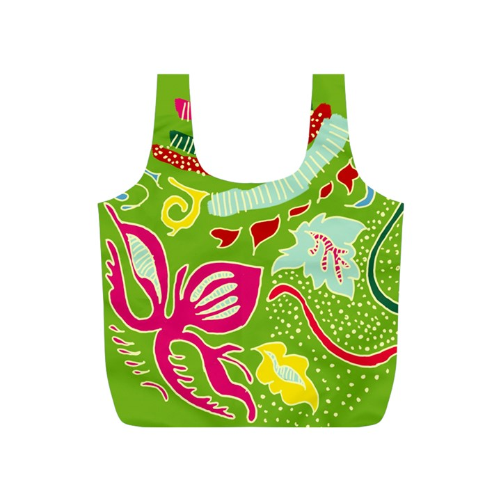 Green Organic Abstract Full Print Recycle Bags (S)