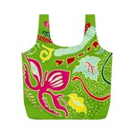 Green Organic Abstract Full Print Recycle Bags (M)  Front