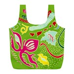 Green Organic Abstract Full Print Recycle Bags (L)  Front
