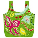 Green Organic Abstract Full Print Recycle Bags (L)  Back