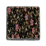 Floral Pattern Background Memory Card Reader (Square) Front