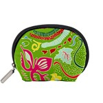 Green Organic Abstract Accessory Pouches (Small)  Front