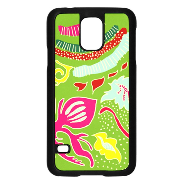 Green Organic Abstract Samsung Galaxy S5 Case (Black)