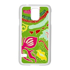 Green Organic Abstract Samsung Galaxy S5 Case (White)
