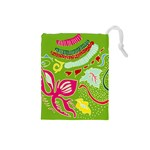 Green Organic Abstract Drawstring Pouches (Small)  Front