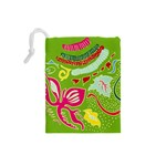 Green Organic Abstract Drawstring Pouches (Small)  Back