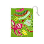 Green Organic Abstract Drawstring Pouches (Medium)  Front