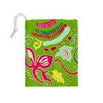 Green Organic Abstract Drawstring Pouches (Medium)  Back