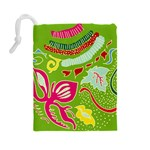 Green Organic Abstract Drawstring Pouches (Large)  Back