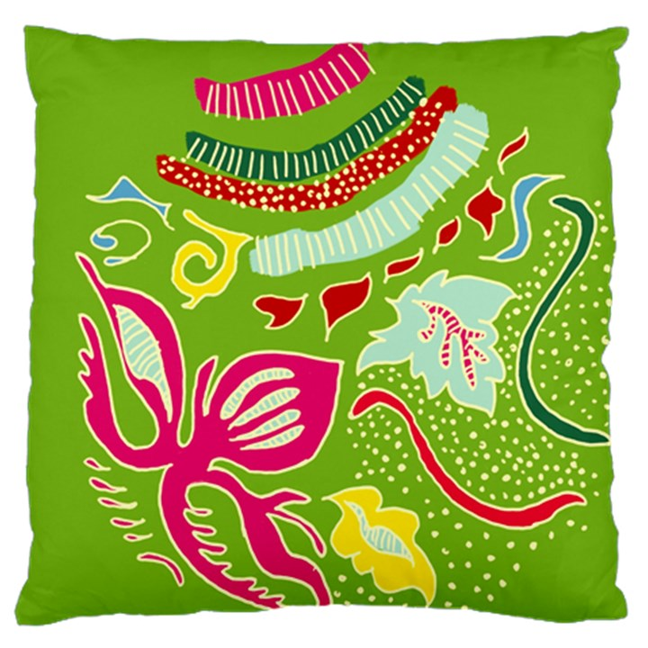 Green Organic Abstract Large Flano Cushion Case (One Side)