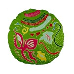 Green Organic Abstract Standard 15  Premium Flano Round Cushions Back