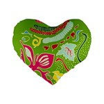 Green Organic Abstract Standard 16  Premium Flano Heart Shape Cushions Front