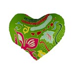 Green Organic Abstract Standard 16  Premium Flano Heart Shape Cushions Back