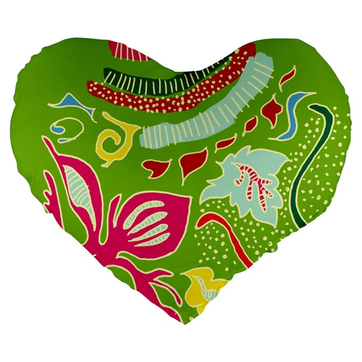 Green Organic Abstract Large 19  Premium Flano Heart Shape Cushions