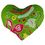Green Organic Abstract Large 19  Premium Flano Heart Shape Cushions Back