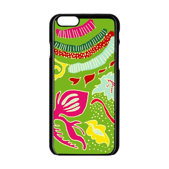 Green Organic Abstract Apple iPhone 6/6S Black Enamel Case