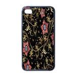 Floral Pattern Background Apple iPhone 4 Case (Black) Front