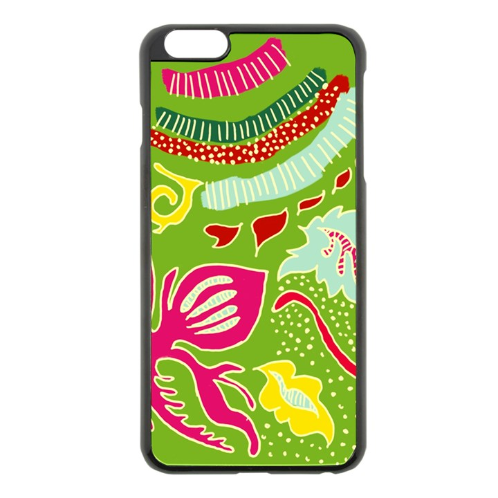 Green Organic Abstract Apple iPhone 6 Plus/6S Plus Black Enamel Case