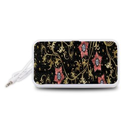 Floral Pattern Background Portable Speaker (White)