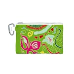 Green Organic Abstract Canvas Cosmetic Bag (S) Front
