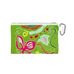 Green Organic Abstract Canvas Cosmetic Bag (S) Back