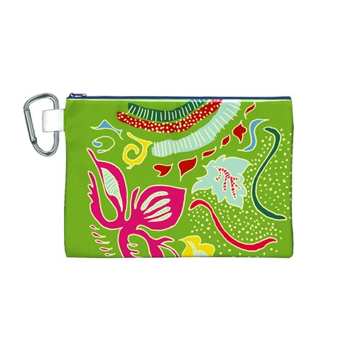 Green Organic Abstract Canvas Cosmetic Bag (M)