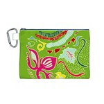 Green Organic Abstract Canvas Cosmetic Bag (M) Front