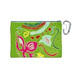 Green Organic Abstract Canvas Cosmetic Bag (M) Back