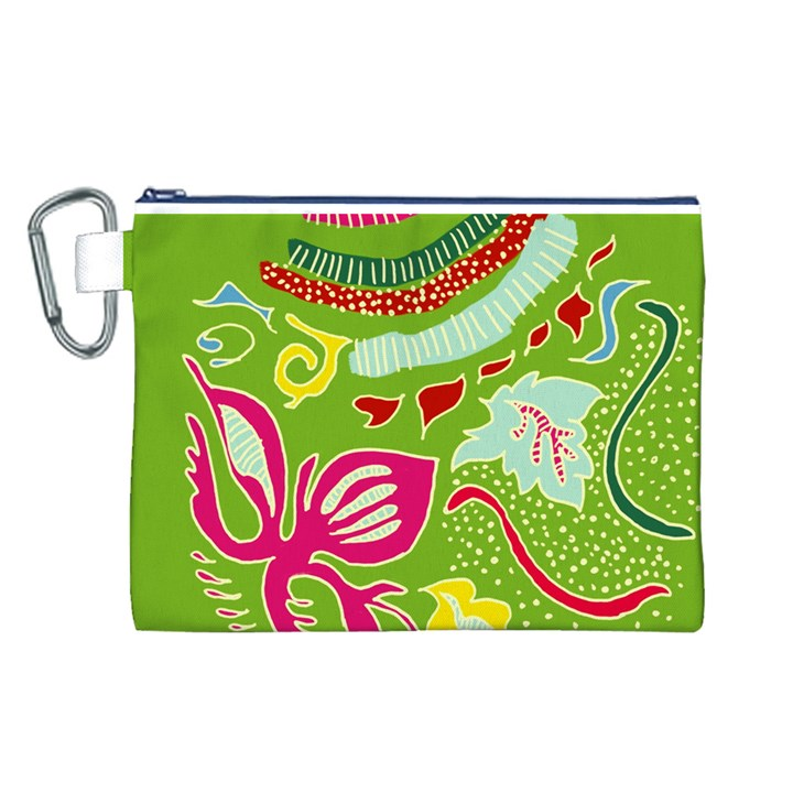 Green Organic Abstract Canvas Cosmetic Bag (L)