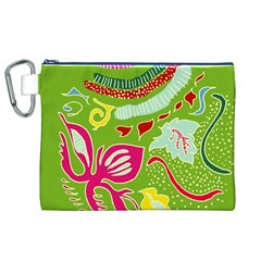Green Organic Abstract Canvas Cosmetic Bag (xl)
