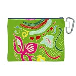 Green Organic Abstract Canvas Cosmetic Bag (XL) Back
