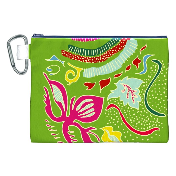 Green Organic Abstract Canvas Cosmetic Bag (XXL)