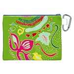 Green Organic Abstract Canvas Cosmetic Bag (XXL) Back